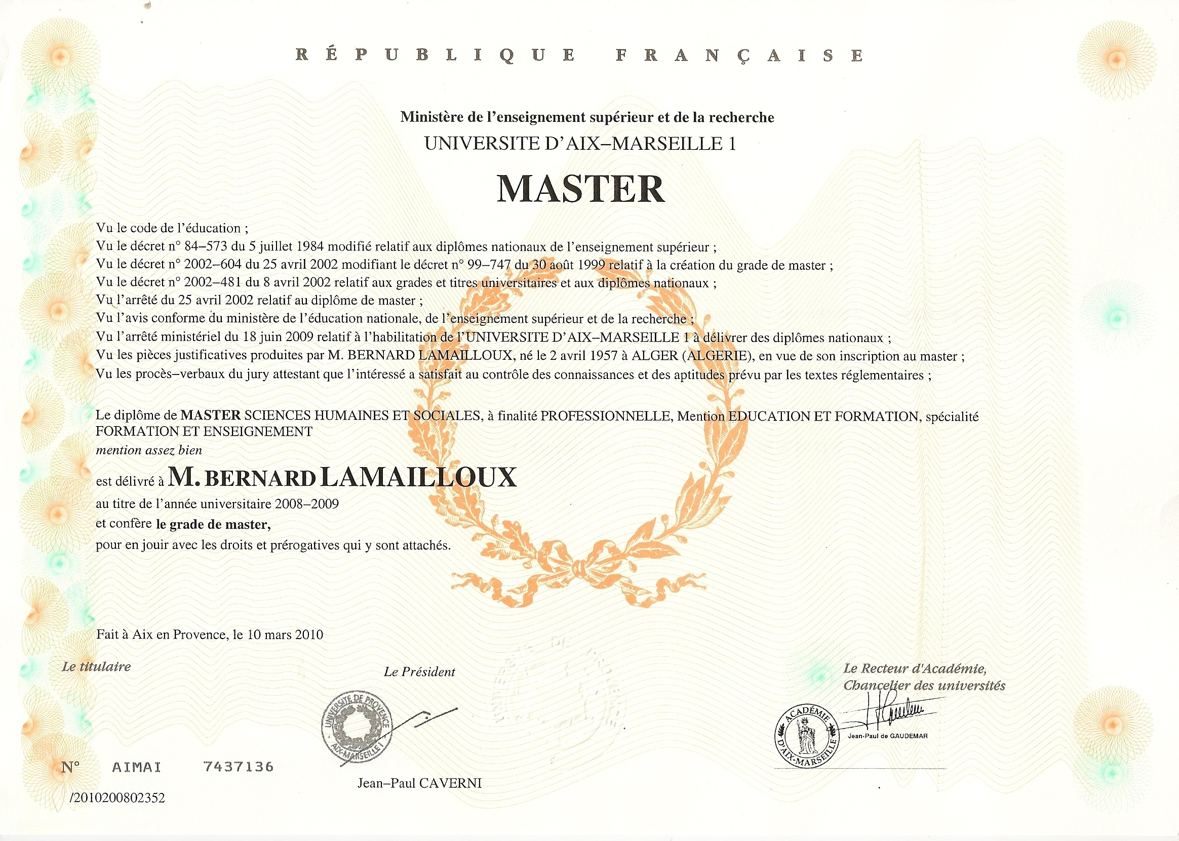 master professionnel sciences de l education